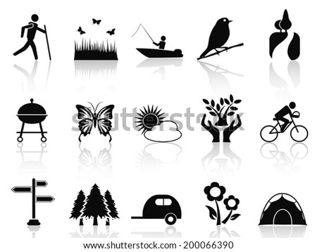 black park and garden icons set - stock vector