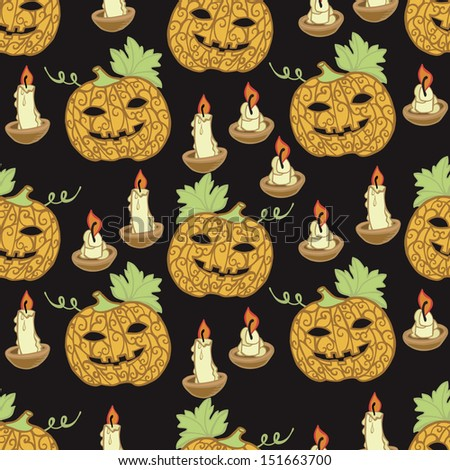 Black pattern with pumpkins for Halloween - stock vector