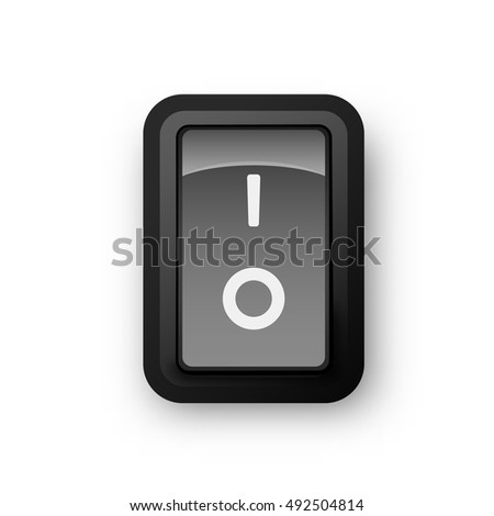 Black pc electric switch, off position, 3d realistic vector object, illustration of electrical equipment, eps 10