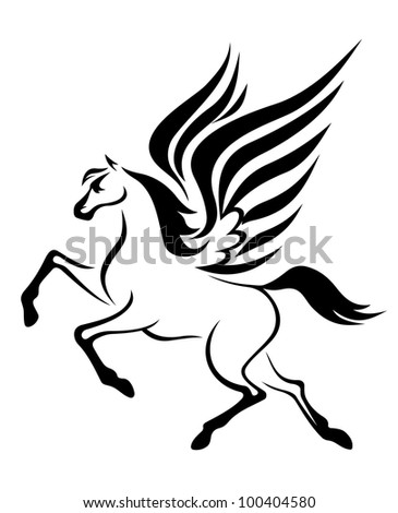 black pegasus horse with wings. Vector illustration