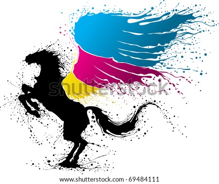Black pegasus with wing in colors of CMYK - stock vector
