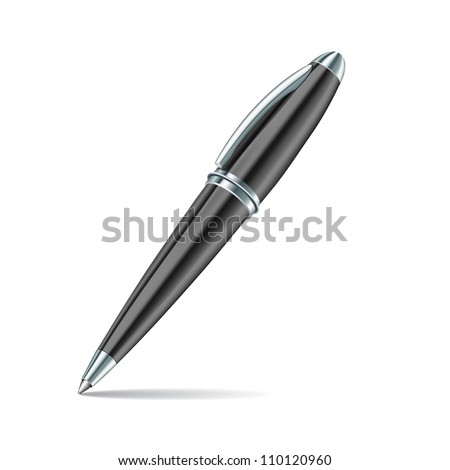 Black pen isolated on the white background. Vector illustration - stock vector