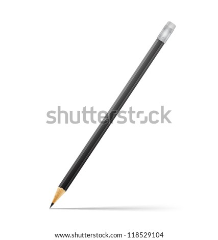 Black pencil on White Background - stock vector