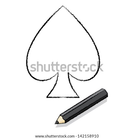 Black pencil with drawn outline of ace of spades playing card icon