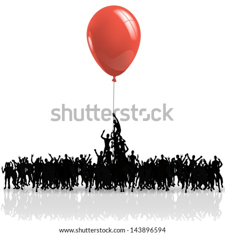 black people silhouettes climbing on a red balloon - stock vector