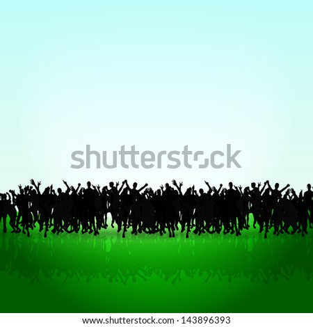 black people silhouettes on a green grass hill. corwd concept