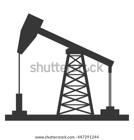 black petro oil machine side view over isolated background, vector illustration