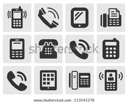 black phone icons for your design - stock vector