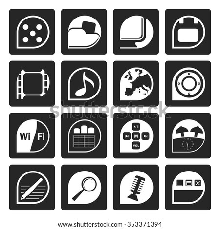 Black Phone Performance, Internet and Office Icons - Vector Icon Set  - stock vector