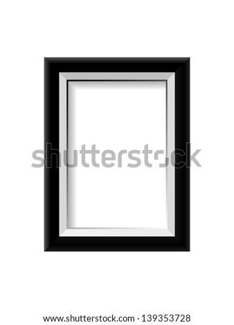 Black photo frame. Vector - stock vector