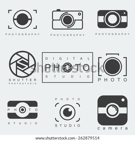 black photography icon set isolated on white background. photo studio emblem. camera pictogram or sign. vector illustration - stock vector