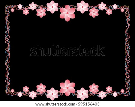 Black pink white blue decorative valentine stock vector royalty black pink white blue decorative valentine romantic frame border floral flower spring background mightylinksfo