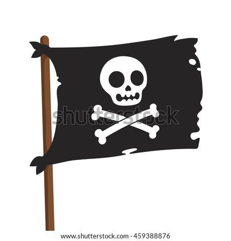 black pirate flag illustration jolly roger stock vector