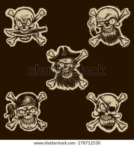 Black pirate skulls set,vector - stock vector