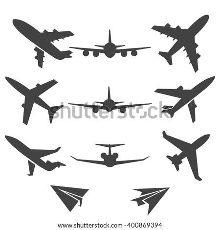 Black plane pictograms on white background. Vector illustration - stock vector