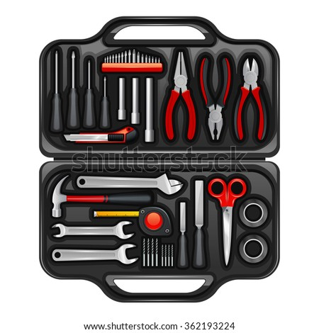 Black plastic toolkit box for keeping storage and carrying instruments and tools for repair service realistic vector illustration - stock vector