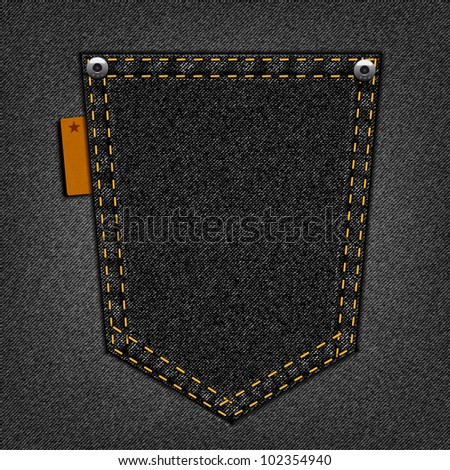Black pocket on a jeans background - stock vector