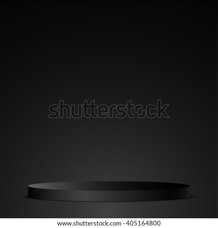 Black podium. Pedestal. Scene. 3D. Vector illustration.
