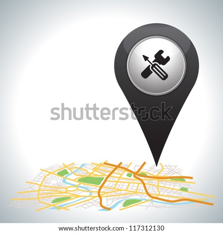 black pointer , Cross services sign on white. - stock vector