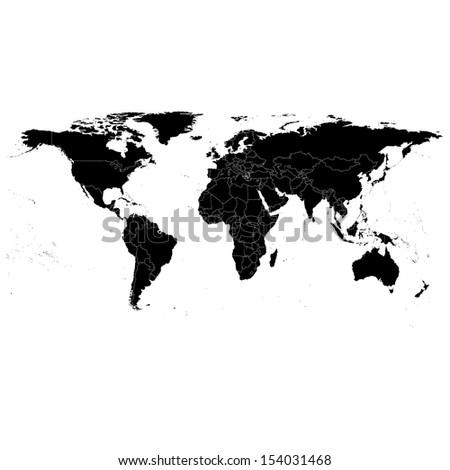 Black Political World Map Illustration - stock vector