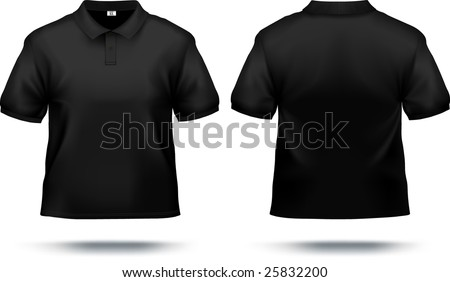 Black polo shirt design template (front & back). Contains gradient mesh elements, lot of details. More clothing designs in my portfolio! - stock vector