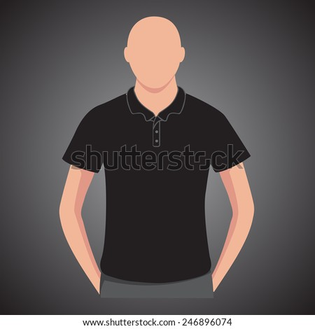 Black polo shirts male with man body - stock vector
