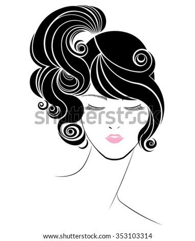 black ponytail hair style icon, logo women face on white background - stock vector