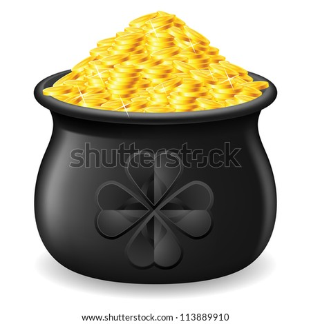 Black Pot full of gold coin. Illustration on white - stock vector