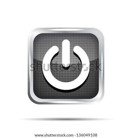 black power button icon on a white background - stock vector