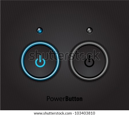 Black power buttons with led light - stock vector