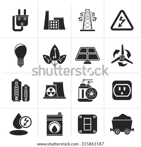 Black power, energy and electricity icons - vector icon set