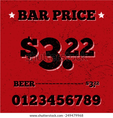 Black price design for bar menu on red grunge background