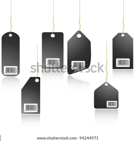 Black price tag with mirror effect. vector
