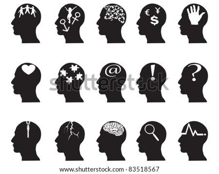 black profiles with idea symbols - stock vector