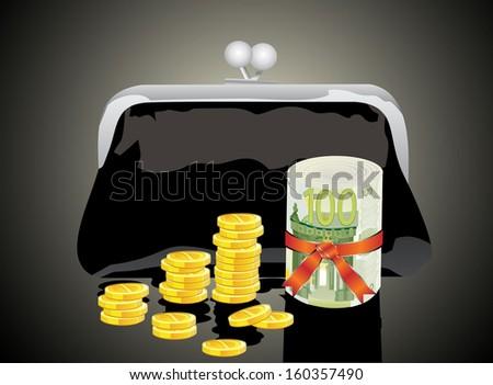 Black purse with money  - stock vector