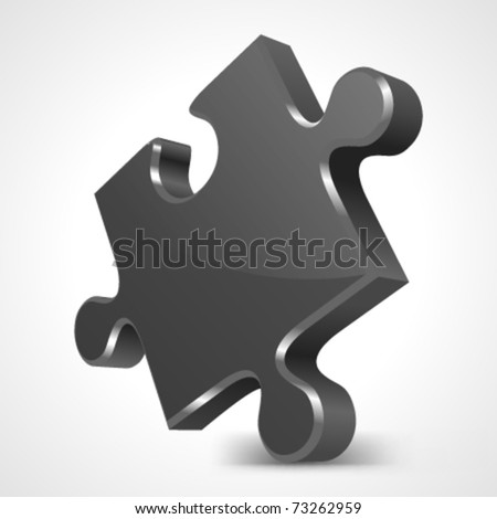 Black puzzle 3d pie vector icon. Eps 10. - stock vector