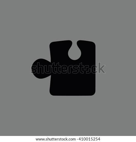 Black puzzle icon vector illustration. Gray background - stock vector