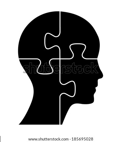 Black puzzle shaped head, business concept vector design. - stock vector