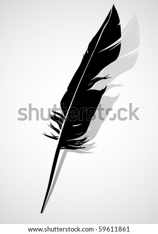Black quill - stock vector