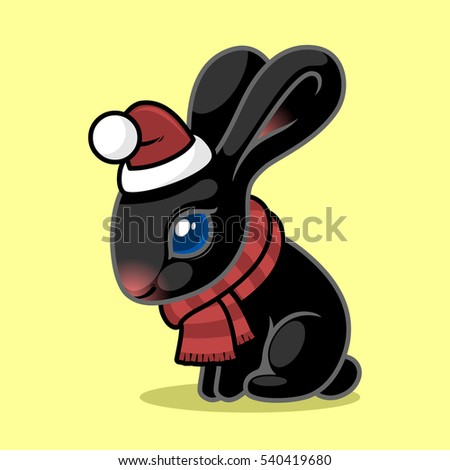 black rabbit in a red hat and scarf sitting on a yellow background