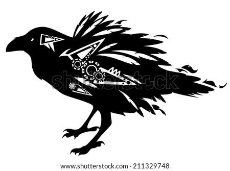 Black raven bird tribal design - vector decorative animal on white - stock vector