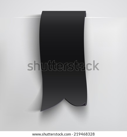Black realistic curved paper banner. Ribbon. Vector illustration - stock vector