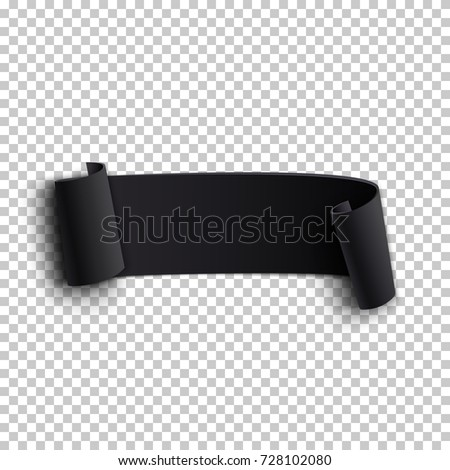 black realistic curved paper ribbon on stock vector 728102080