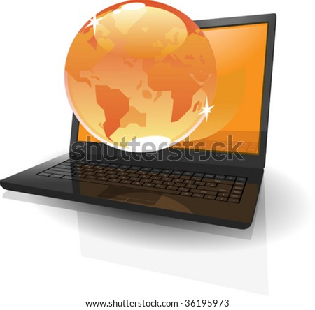 Black realistic laptop with orange Globe. Vector illustration concept.