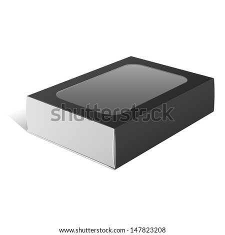 Black Realistic Package Cardboard Box with a transparent plastic window. Vector illustration - stock vector