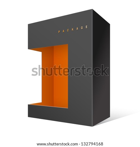 Black Realistic Package Cardboard Box with window. Vector illustration - stock vector