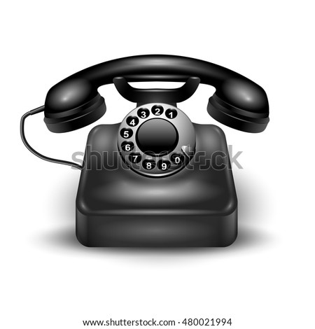 Black realistic retro dial phone wired and landline isolated and with shadows vector illustration