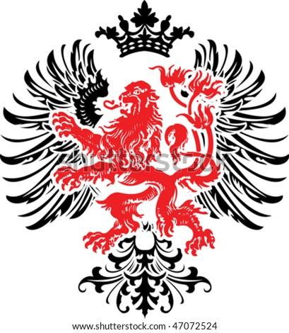 Black Red Decorative Heraldry Ornate Banner. Vector Illustration. - stock vector