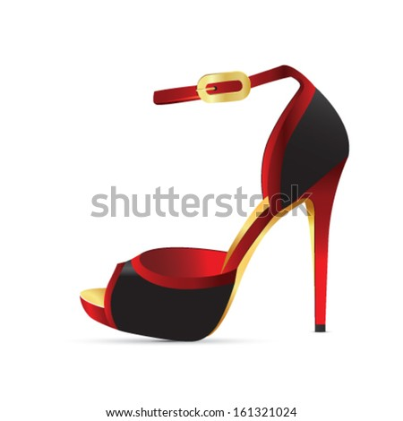 Black-red high heel; vector illustration - stock vector