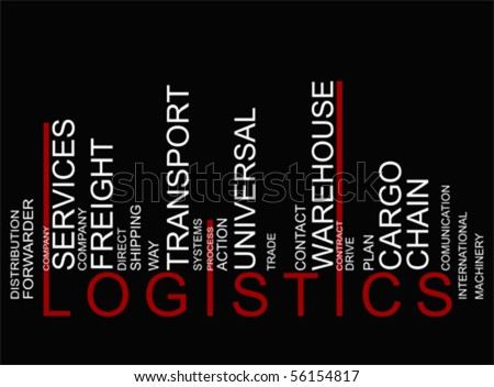 BLACK RED LOGISTICS text barcode, vector - stock vector